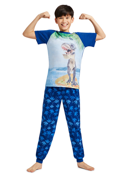 Dino Print T-Shirt, Palm Tree Jogger Pants