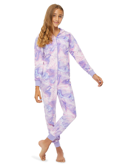 Girls Pajama | Plush Zippered Narwhal Onesie with 3D Hood