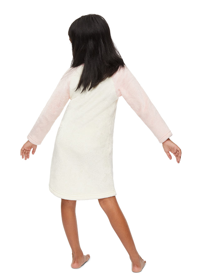 Girls Plush Fleece Nightgown | Long Sleeve Coral Deer Sleep Shirt