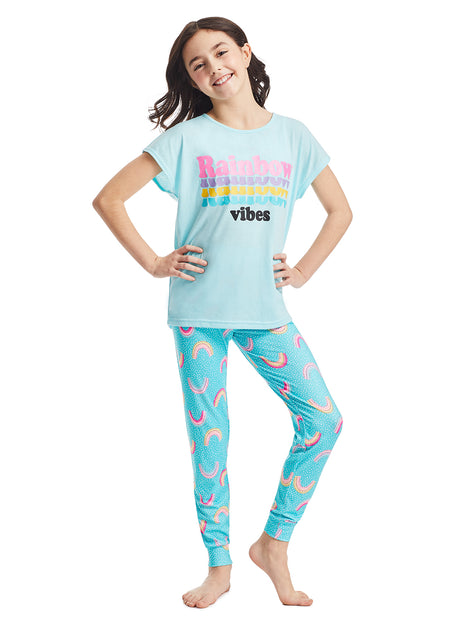 Boys 3-Piece Pajama Set | Blue Dino Foil Print Sleep Top, Jogger Pants and Shorts