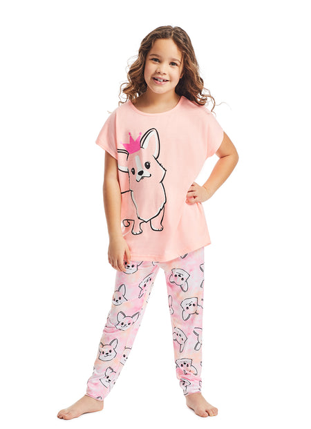 Girls 2-Piece Pajama Set | Aqua Trees Glitter Print Sleep Top, Grey Shorts