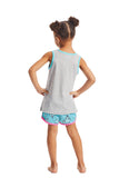 Girls 2-Piece Pajama Set | Grey Narwhal Glitter Print Sleep Top, Turquoise Shorts