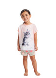 Girls 2-Piece Pajama Set | Coral Cat Fleece Applique Sleep Top, Grey Shorts