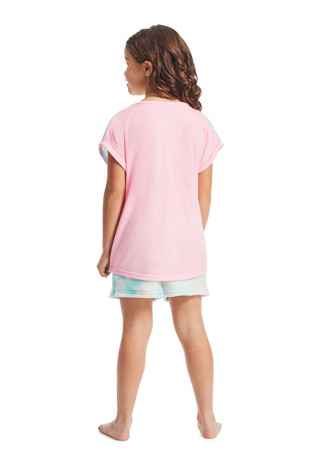 Girls 2-Piece Pajama Set | Pink Bunny Fleece Applique Sleep Top, Multicolor Shorts