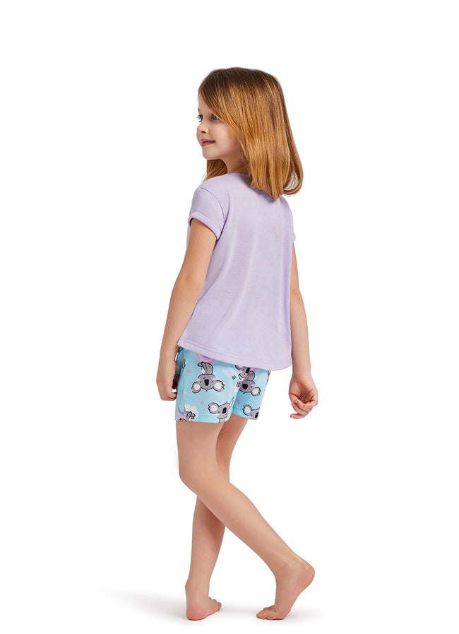Girls 2-Piece Pajama Set | Koala Foil Print Top, Shorts