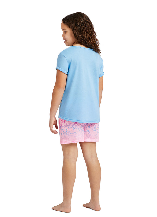 Girls 2-Piece Pajama Set | Unicorn Glitter Print Top, Shorts