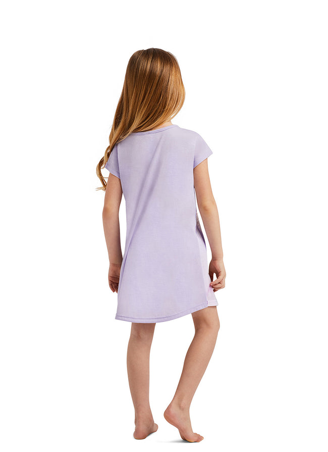 Girls Sleep Gown | Short Sleeve Pajama with Dog Glitter Print