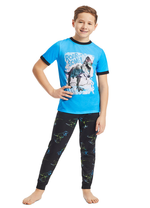 Boys 2-Piece Pajama Set | Blue Dino Puff Print Sleep Top, Black Jogger Pants