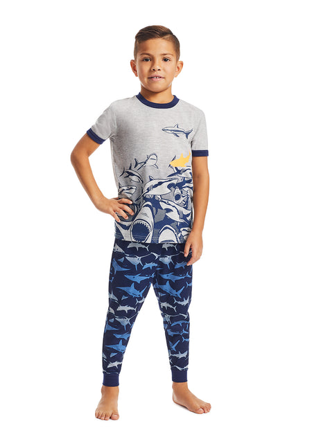 Boys 2-Piece Knit Pajamas Shorts Set, by Jellifish Kids Bulldog