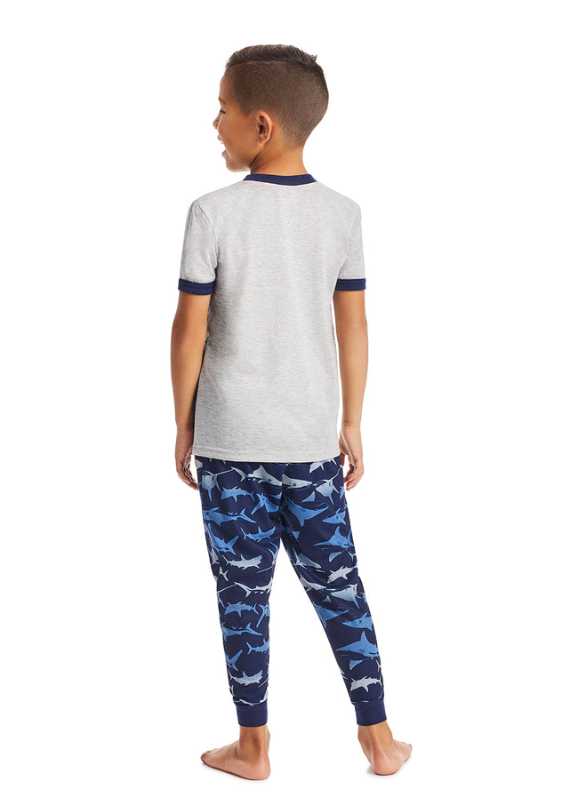 Boys 2-Piece Pajama Set | Grey Shark Glow in the Dark Sleep Top, Blue Jogger Pants