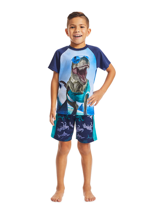 Boys 2-Piece Pajama Set | Navy Dino Glow in the Dark Print Sleep Top, Navy Shorts