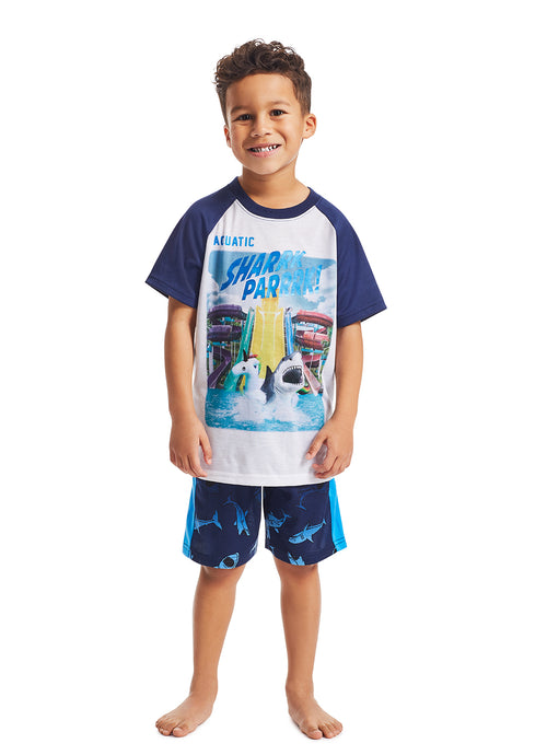Boys 2-Piece Pajama Set | Navy Shark Metallic Ink Print Sleep Top, Navy Shorts