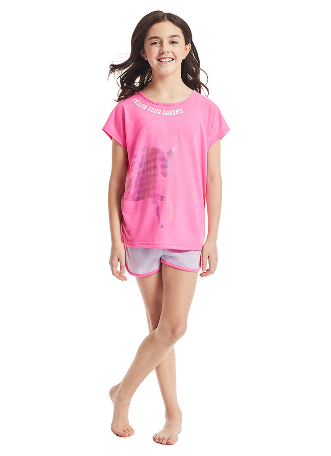 Girls 3-Piece Pajama Set | Pink Unicorn Foil Print Sleep Top, Jogger Pants and Shorts