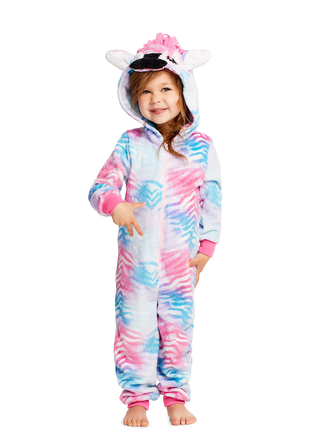 Girls Pajamas | Plush Zippered Zebra Kids Onesie Blanket Sleeper