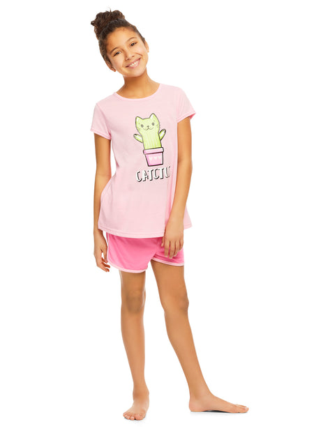 Girls Knit 3-Piece Pajamas Sleep Pant & Shorts Set, by Jellifish Kids (10 / 12, Dreams)