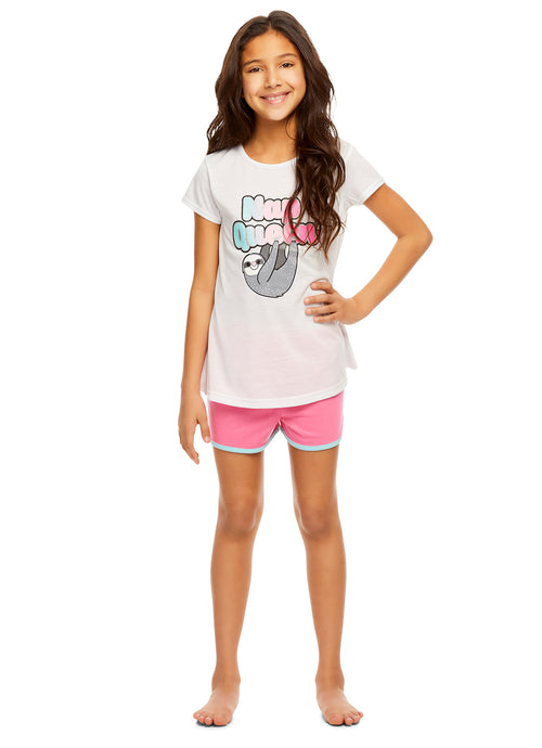 Girls Knit 3-Piece Pajamas Sleep Pant & Shorts Set- Short Sleeve Top