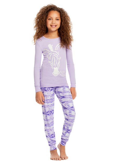 Girls 2-Piece Pajama Set | White Unicorn Sublimation Print Sleep Top, Pink Shorts