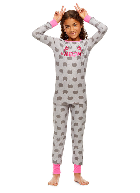 Girls 2-Piece Pajama Set, Long-Sleeve Henley Top and Lush Jogger Pants, Pink Cat, by Jellifish Kids