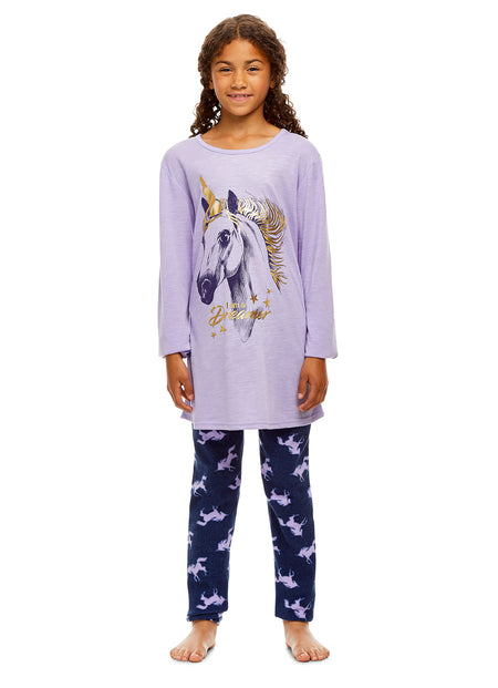 Girls 2-Piece Pajama Set, Thermal Long-Sleeve Top and Fleece Jogger Pants, Red Deer, by Jellifish Kids