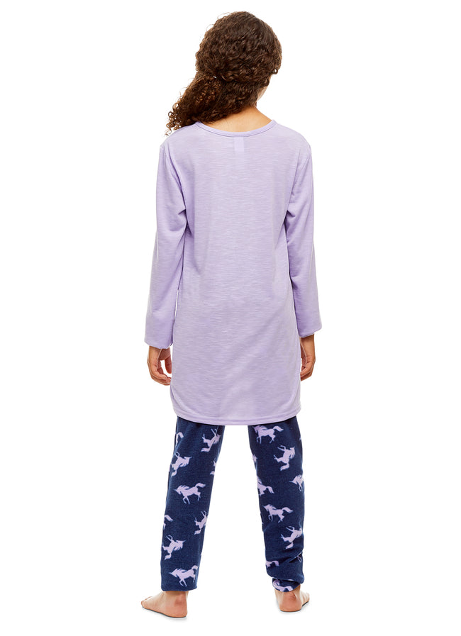 Girls 2 Piece Pajama Set | Long Sleeve Unicorn Print Top & Velour PJ Pants