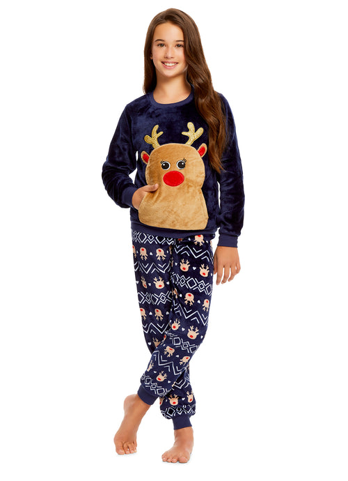 Girls 2 Piece Plush Reindeer Pajama Set | Long Sleeve Fleece Top & PJ Pants