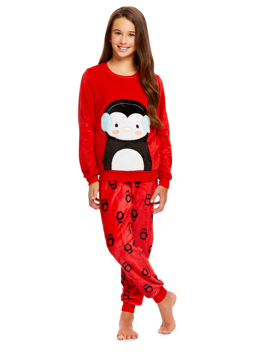Girls 2 Piece Plush Penguin Pajama Set | Long Sleeve Fleece Top & PJ Pants