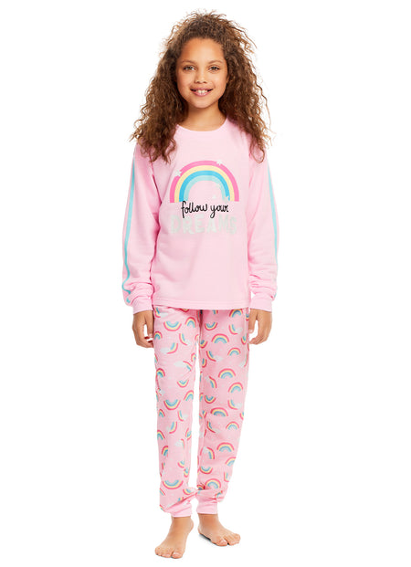 Girls Holiday Reindeer 2 Piece Pajama & Hat Set | Long Sleeve Top PJ & Pant