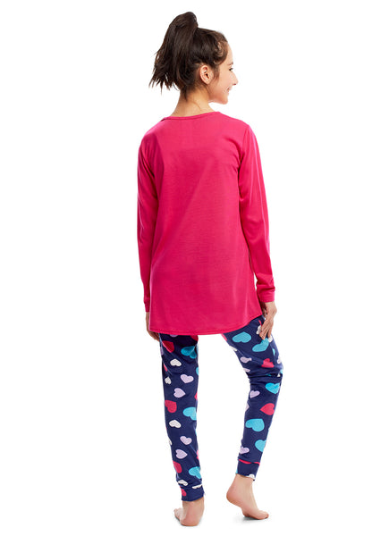 Girls 2 Piece Pajama Set | Long Sleeve Heart Shine Print Top & Velour PJ Pants