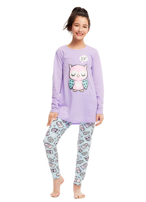 Girls 2 Piece Pajama Set | Long Sleeve Owl Shine Print Top & Velour PJ Pants
