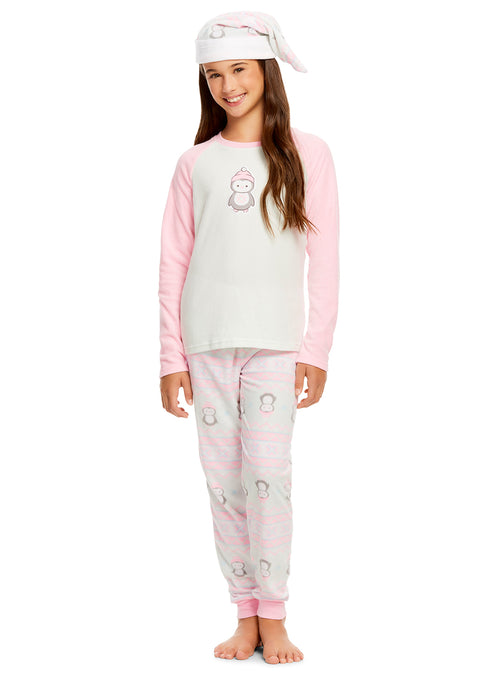 Girls Holiday Penguin 2 Piece Pajama & Hat Set | Long Sleeve Top & PJ Pants