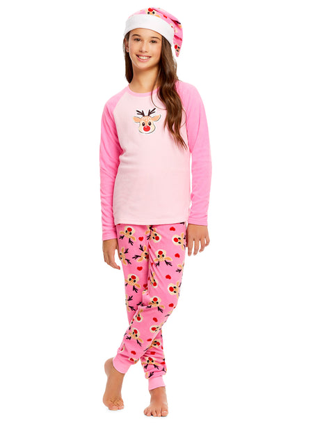 Girls Plush Fleece Nightgown & Socks | Long Sleeve Penguin Sleep Shirt
