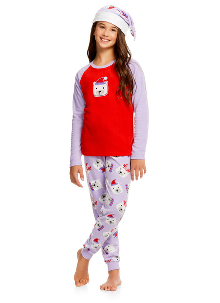 Girls Nightgown & Socks Set | Long Sleeve Shiny Heart Print Jersey