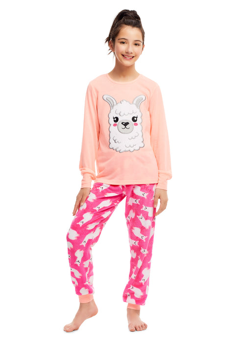 Girls 2 Piece Plush Llama Embroidery Pajama Set | Long Sleeve Top & PJ Pants