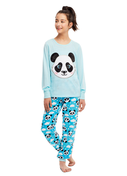 Girls 2 Piece Plush Panda Embroidery Pajama Set | Long Sleeve Top & PJ Pants
