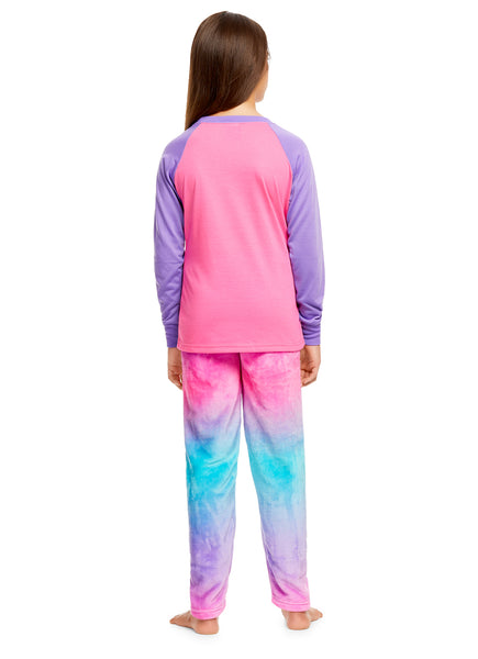 Girls 2 Piece Plush Unicorn Pajama Set | Long Sleeve Top & PJ Pants