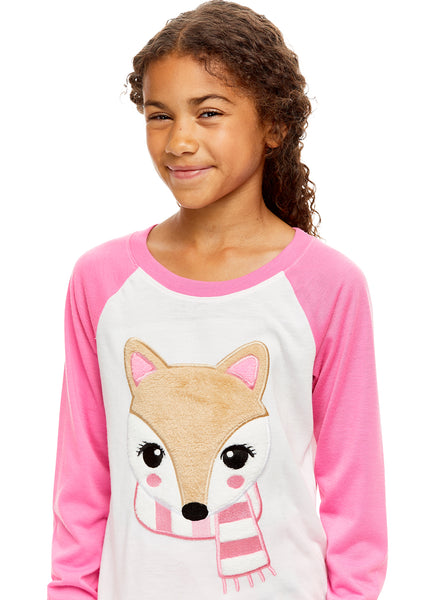 Girls 2 Piece Plush Fox Embroidery Pajama Set | Long Sleeve Top & PJ Pants