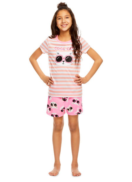 Girls Holiday Penguin 2 Piece Pajama & Hat Set | Long Sleeve Top & PJ Pants - L