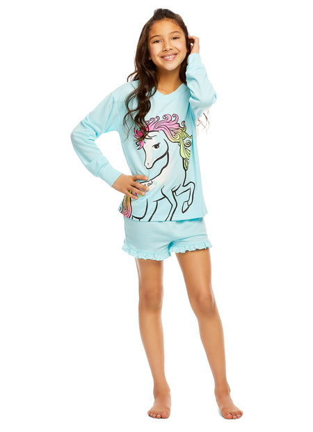 Girls 2 Piece Plush Unicorn Embroidery Pajama Set | Long Sleeve Top & PJ Pants