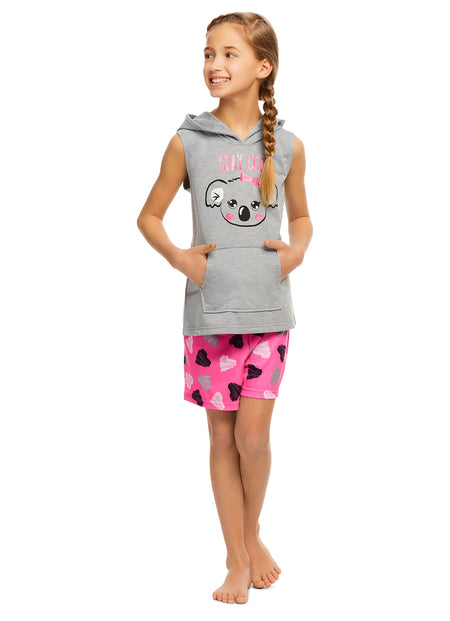Girls 3-Piece Pajamas Sleep Pant & Shorts Set | Unicorn Long Sleeve Top