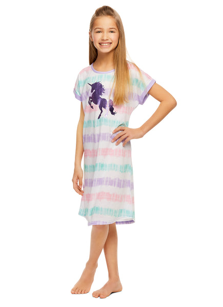 Girls Sleep Gown | Pajamas Short Sleeves with Foil Print