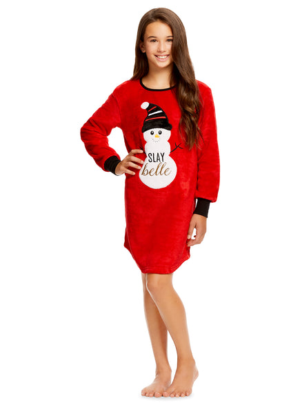 Girls Plush Fleece Nightgown & Socks | Long Sleeve Snowman Sleep Shirt