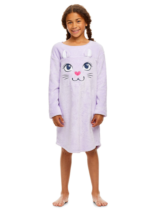 Girls Nightgown & Socks Set | Long Sleeve Lavender Cat Print Jersey
