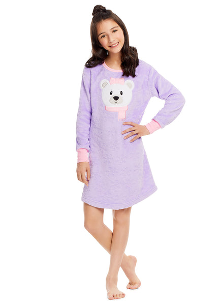 Girls Plush Fleece Nightgown & Socks - Long Sleeve Bear Sleep Shirt