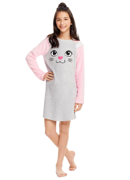 Girls Plush Fleece Nightgown - Long Sleeve Cat Sleep Shirt with 3D Ears