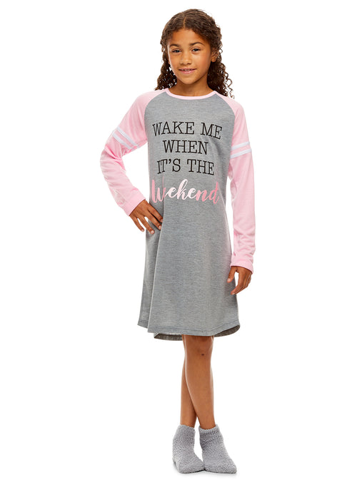 Girls Nightgown & Socks Set | Long Sleeve Shiny Weekend Print Jersey