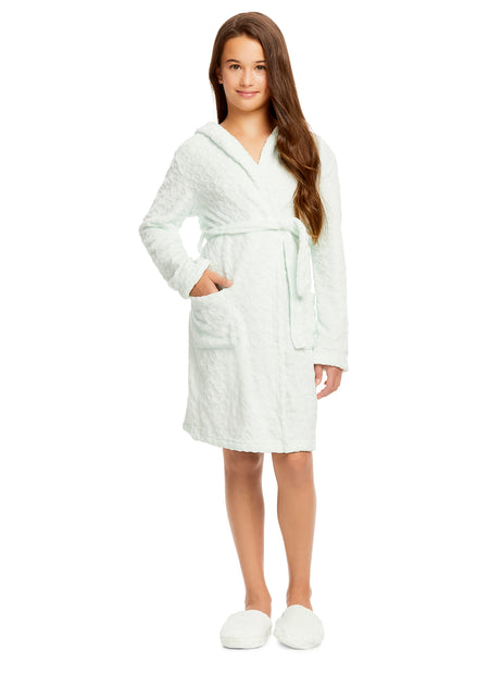 Girls Plush Robe & Slippers Set | Fleece 3D Hood Hearts Print Sleep Robe