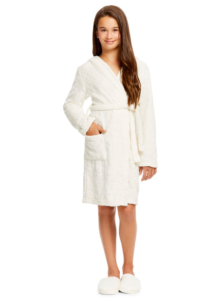 Girls Plush Robe & Slippers Set | Fleece 3D Hood Stars Print Sleep Robe