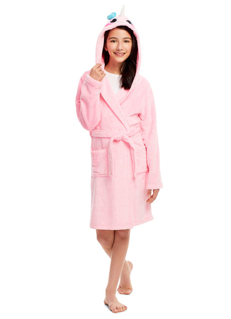 Girls Plush Robe & Slippers Set | Fleece 3D Hood Leopard Print Sleep Robe