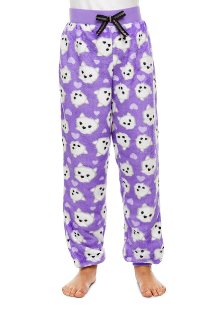 Girls Pajama Bottoms, Cozy Fleece Sleep Pants, Unicorn