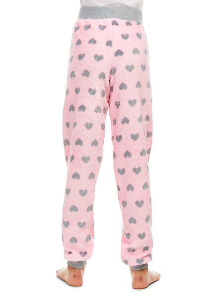 Girls Plush Pajama Bottoms | Fleece Heart Print Jogger Sleep Pants